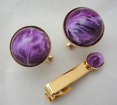 Mens Cuff Links & Tie Clasp Clip Purple Swirl Mod Domed Plastic Stone Gold Tone  http://www.ebay.ca/itm/Mens-Cuff-Links-Tie-Clasp-Clip-Purple-Swirl-Mod-Domed-Plastic-Stone-Gold-Tone-/300891539947?pt=LH_DefaultDomain_2=item460e8889eb