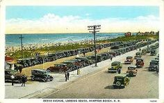 Hampton Beach New Hampshire 1931 Ocean Avenue Beach and Homes Vintage Postcard - Moodys Vintage Postcards - 1