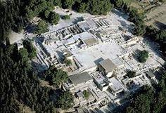 Foto aerea del sito archeologico del Palazzo di Cnosso.