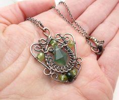 Copper wire wrap jewelry green peridot by CreativityJewellery
