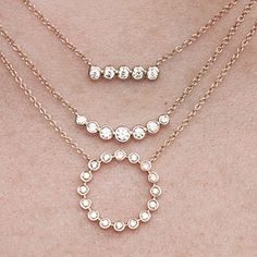 #bezel #diamonds #diamondnecklace #layeringnecklaces #goldnecklaces Diamond Jewelry, Gold Jewelry, Fine Jewelry, Jewellery, Cross Necklaces, Layering Necklaces, Crescent Necklace, Jewelry Stores, Brides