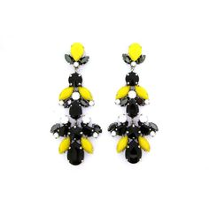Black and Yellow Glass and Crystal Chandelier Pierced Earrings by... (10.700 RUB) ❤ liked on Polyvore featuring jewelry, earrings, chandelier jewelry, earring jewelry, yellow crystal earrings, crystal jewellery and crystal earrings