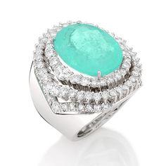 Anel  T A L E N T O  ouro branco Diamantes e Turmalina Paraíba  #ilovetalento #handmademasterpieces
