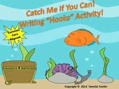 """FREEBIE! Laminate and cut out all fish. Make student copies of the """"Catch Me If You Can"""" slips. I have included color and black and white versions of the fish in case you don't have a color printer.  This is a warm-up activity that can be used with ANY writing topic. My students really like this!"""