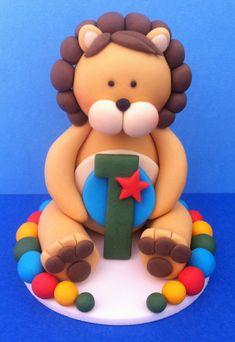 Fondant Lion Cake Topper Lion cakes Fondant and Edible cupcake