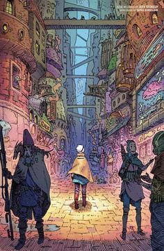 Cover art for The Spire written & co-created by Simon Spurrier, coloured by Tamra Bonvillain. Bd Art, Graphic Novel Art, Arte Cyberpunk, Art Graphique, Sci Fi Art, Pretty Art, Aesthetic Art, Cover Art, Game Art