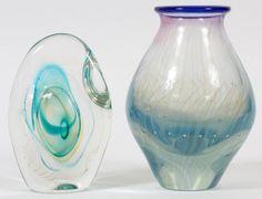 KARNIG DABANIANSTUDIO GLASS PAPERWEIGHT & VASE : Lot 111196