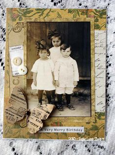 A Very Merry Birthday HANDMADE  Collage Greeting Card by Nancy Maxwell James' .Nancy used one of my Vintage children collage sheets and my Vintage Ephemera Butterflies to make this beautiful card. $4.00, via Etsy.