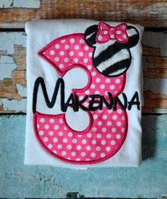 Birthday Polka Dot / Zebra  Minnie Mouse Shirt by SpoiledSweetkids, $16.00