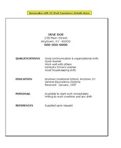 no work history resume template with no work experience resume for homemaker with no work experience