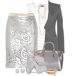 Grey, silver and white is a classic colour combination. Opt for white linen trousers with a silvery grey top for a casual look and a shimmery silver pencil skirt with a white top and charcoal grey tailored jacket for a smarter more sophisticated look. Business Outfits, Business Fashion, Business Wear, Business Formal, Business Casual, Estilo Fashion, Ideias Fashion, Style Work, My Style