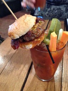 Bloody Mary with a burger on top from DT Kirby's, Downtown Lafayette