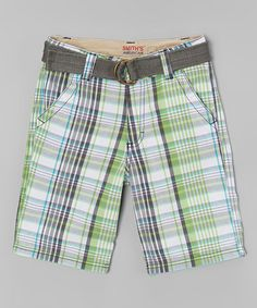 Another great find on #zulily! Lime Plaid Belted Shorts - Boys by Smith's American #zulilyfinds
