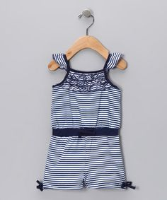 Take a look at this Blue Stripe Romper by Sweet & Soft Girls on #zulily today!