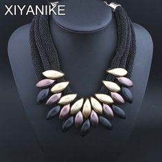 New 2015 Brand Design Fashion Luxury Geometric Woven by hand Necklace Gold Plated Charm Elegant Chain Statement Necklace XY-N424