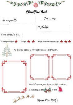 Printable lettre au Père Noël à imprimer 2019 - #christmas #letter #printable Noel Christmas, Xmas, Texts, Chart, Animation, French, School, French Lessons, Letter To Santa Template