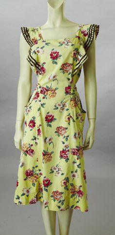 Yellow Cotton, Rose Print Housedress