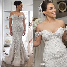2016 Spring Amazing Detail Mermaid Wedding Dresses Dubai Arabic Off-shoulder Sweetheart Full length Backless Wedding Gown Plus Size