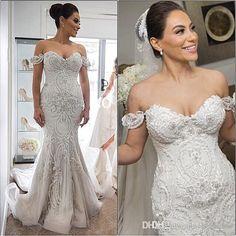 2016 Spring Amazing Detail Mermaid Wedding Dresses Dubai Arabic Off-shoulder Sweetheart Full length Backless Wedding Gown Plus Size