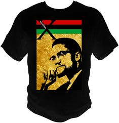 MALCOLM X Black T-Shirt Black History, ISLAM, Red Black Green by NuelifeGraphics on Etsy
