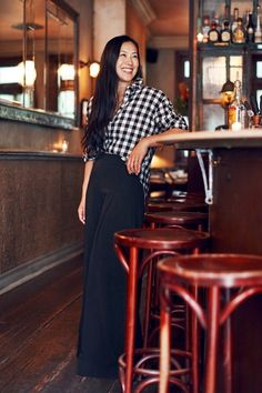 buffalo check shirt and wide-leg pants #style #fashion