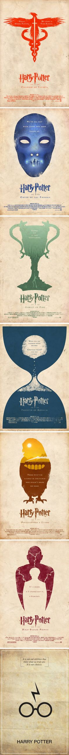 Alternate Harry Potter movie posters. Too cool.