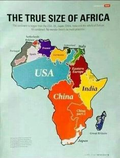 Maps make USA seem bigger than Africa when it's not. Comparative size of continents on Africa. Afrique Francophone, World Geography, Ap Human Geography, Art Africain, Black History Facts, Historical Maps, African American History, World History, European History