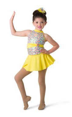 Iridescent sequin mesh over yellow spandex leotard with attached sash and adjustable straps. Separate yellow and pink tricot tutu AND yellow spandex skirt. Hologram sequin, and jewel brooch trim. Dance Outfits, Kids Outfits, Cute Dance Costumes, Baby Ballerina, Brand New Day, Dance Recital, Flower Headpiece, Tiny Dancer, Costume Design
