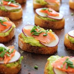 Avocado and Salmon Crostini.  Re-pinned by The Workout Girl.  For workouts you can do anywhere, check out http://www.theworkoutgirl.com