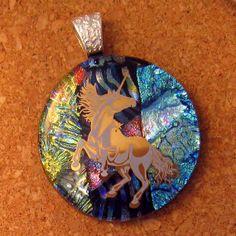 Dichroic Unicorn Pendant Fused Glass Pendant by GlassMystique, $30.00