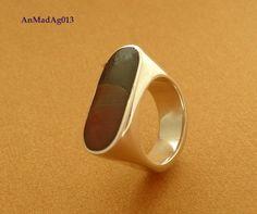 Anel em prata 950 e madeira-(AnMadAg013)