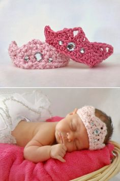Cutest crochet crown for newborn princesses :) Follow the links for a free pattern. Cute-Crochet-Patterns-for-Little-Girls_06