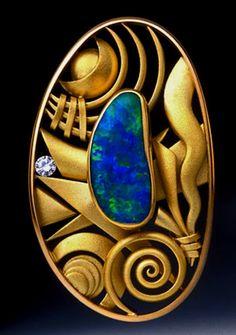 Aaron Macsai 'Monet' brooch Gold, diamond and opal.