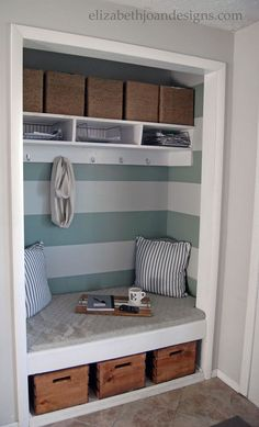 Mudroom idea, but I'd raise the bench and have a couple shelves for shoes