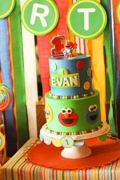 Sesame Street Party!...This cake is from my work.  I thought it looked familiar. :)