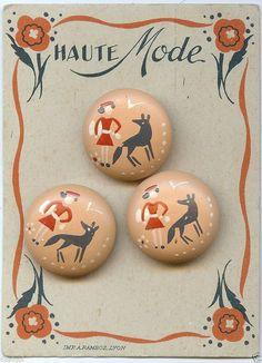 Carte Anciens Boutons Années 30 *Chaperon rouge* (modèle rose) in Collections, Costumes, vêtements d'époque, Boutons | eBay