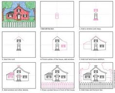 Draw a House · Art Projects for Kids - Digitale Fotographie Art Drawings For Kids, Drawing For Kids, Easy Drawings, Art For Kids, Basic Drawing, Drawing Projects, Drawing Lessons, Art Lessons, Art Projects