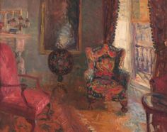 """""""23 Fifth Avenue, Interior""""  by William Glackens. c1910, oil on panel. In the collection of the NSU Art Museum, Ft Lauderdale, FL. Gift of The Sansom Foundation (formed by Ira and Nancy Glackens, the artist's son and daughter-in-law). Painted as a study for """"Family Group"""" (in NGA DC's collection). It depicts the interior of the artist's rented apartment. NSU used it as inspiration for its exhibit room which is set up as Glackens' parlour."""