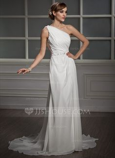 A-Line/Princess One-Shoulder Court Train Chiffon Wedding Dress With Ruffle Lace Beading Sequins (002011390) - JJsHouse