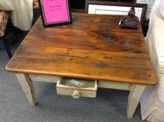 Coffee Table - Reclaimed wood top .  Rustic.  32 inches by 36.  Item 537-2.   Price $175.00    - http://takeitorleaveit.co/2014/09/21/coffee-table-6/