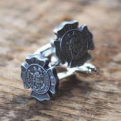 Firefighter Cufflinks Saint Florian in Pewter by vintageincolor, $30.00. Check out that cool T-Shirt here: https://www.sunfrog.com/I-love-my-firefighter-Black-Ladies.html?53507