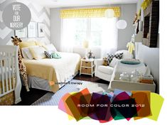 nursery + bed layout perfect for a one bedroom apartment