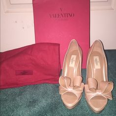Valentino stilettos Valentino stilettos worn twice! Little black mark on the back and bottoms show they were slightly worn. Still in very good condition!! Size 38. Valentino Shoes