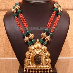 Coral and Emerald Beads Chain - Jewellery Designs