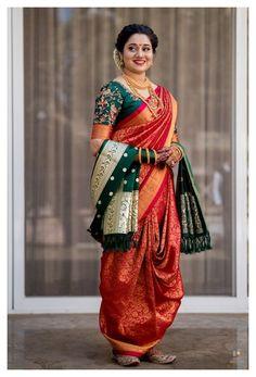 Indian Bridal Outfits, Indian Bridal Fashion, Indian Designer Outfits, Maharashtrian Saree, Shower Dress For Bride, Marathi Bride, Bengali Bride, Punjabi Bride, Sari Bluse