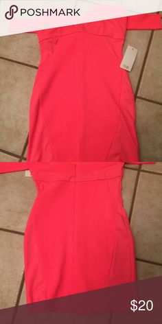 Bright pink mini dress Bright pink mini dress stretch material Nwt zips up back Dresses Mini