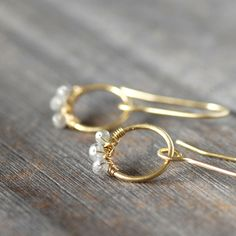 Natural Diamond Gold Earrings - Diamond Gold Hoop Dangles - Eco-Friendly Recycled Gold by LilianGinebra on Etsy https://www.etsy.com/listing/99401533/natural-diamond-gold-earrings-diamond