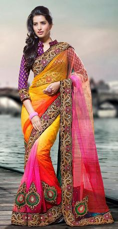 Buy online Saree - Floral motif embroidered see-through saree 2115 from Triveni Sarees Party Wear Sarees Online, Online Shopping Sarees, Saree Shopping, Indian Dresses, Indian Outfits, Indian Clothes, Beautiful Saree, Beautiful Outfits, Saree Floral