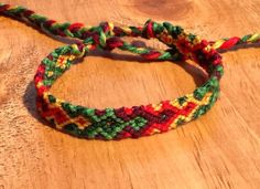 Friendship Bracelet Green Red and Yellow by BraceletsBySarah, $6.00