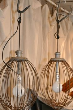 great idea for light in pantry.  made out of old commercial-size whisks.